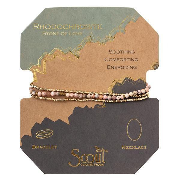 Rhodochrosite/GD Delicate Stone Wrap Bracelet/Necklace - SD023