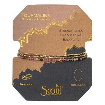 Tourmaline/GD Delicate Stone Wrap Bracelet/Necklace - SD019