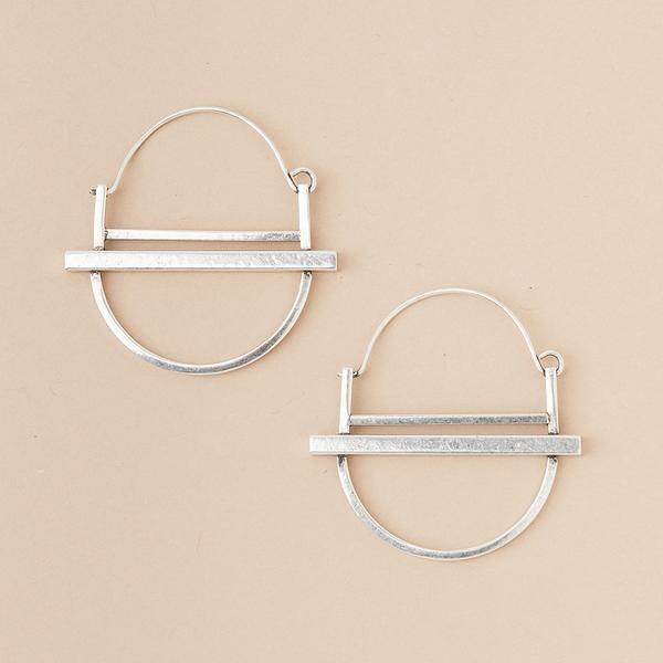 Sterling Silver Saturn Hoop Earrings - ER009