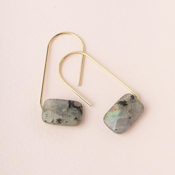 Labradorite Floating Earrings - Gold Dipped Wire - EF001