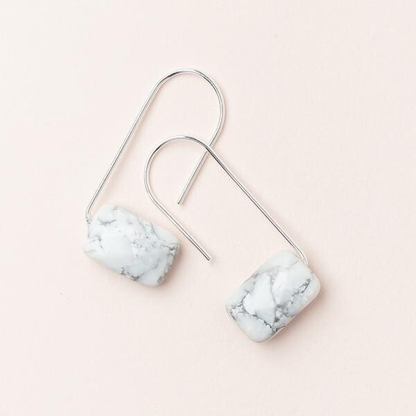 Howlite Floating Earrings - Silver Dipped Wire - EF008