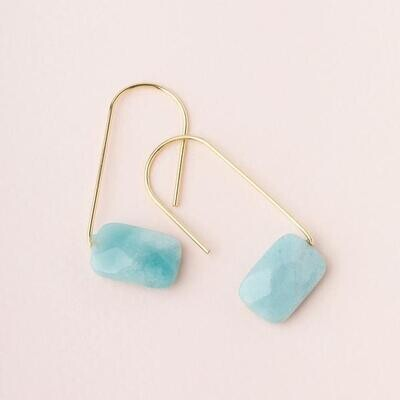 Amazonite Floating Earrings - Gold Dipped Wire - EF005