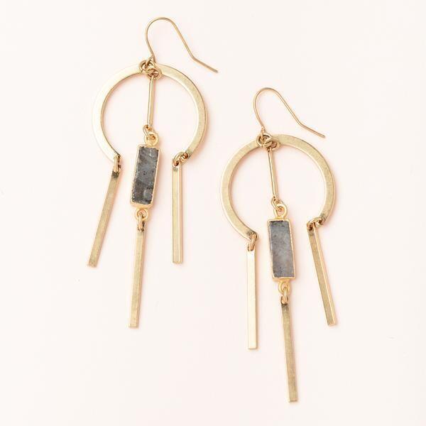 Labradorite Dream Catcher Stone Earring - 14k Gold Dipped - EA001