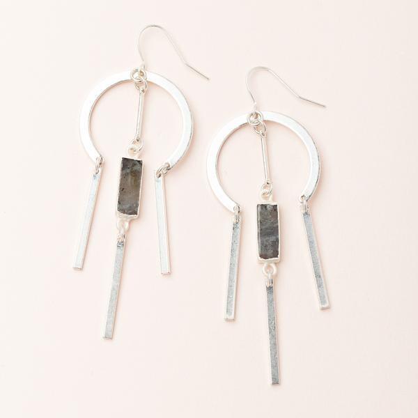 Labradorite Dream Catcher Stone Earring - Sterling Silver Dipped - EA002