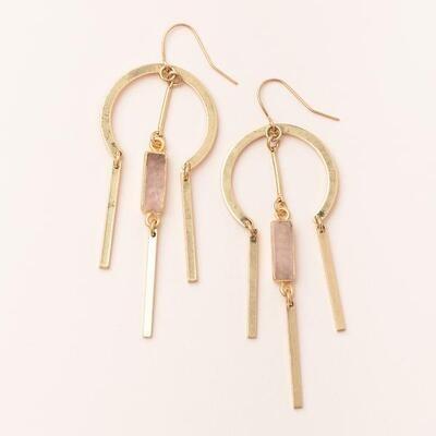 Rose Quartz Dream Catcher Stone Earring - 14k Gold Dipped - EA003