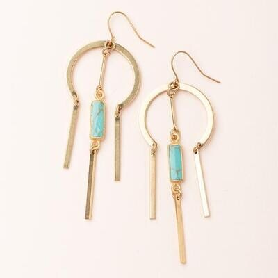 Turquoise Dream Catcher Stone Earring - 14k Gold Dipped - EA005