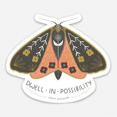 Dwell In Possibility Moth Vinyl Sticker - GGS1