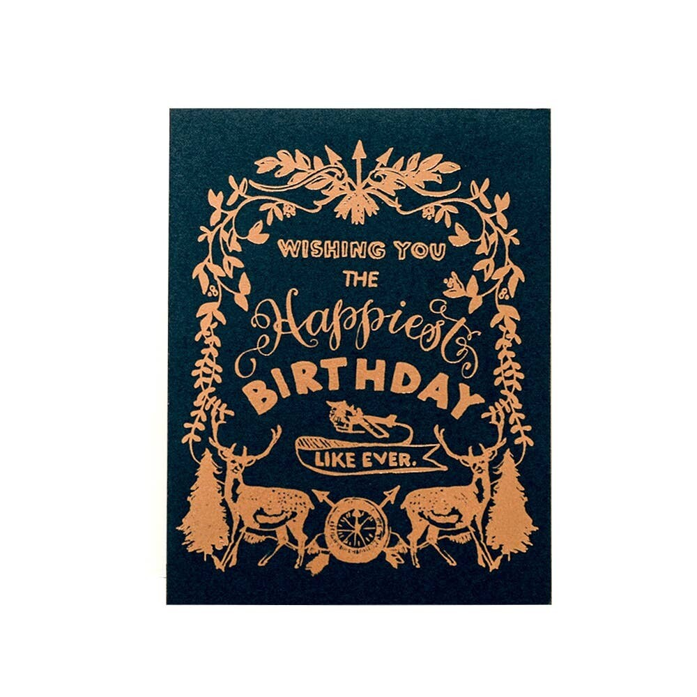 Happy Birthday - Deer Crest - Greeting Card - AQ35