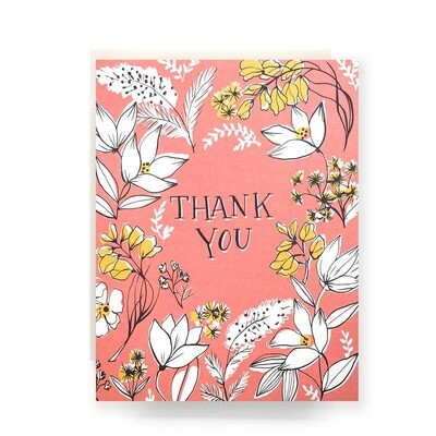 Floral Toile Thank You Greeting Card - AQ37