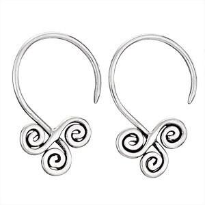 Sterling Silver Triple Spiral Earrings - H13 3593