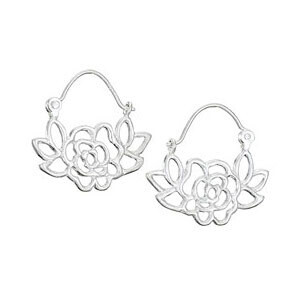 Sterling Silver Tiny Rose Hoops - H13 2594