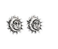 Sterling Silver Sun & Moon Post Earrings - P4873