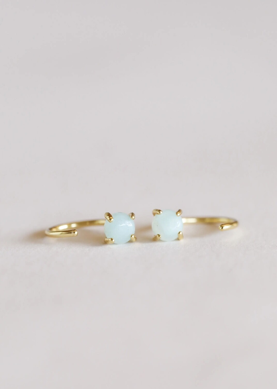 Amazonite Gemstone Huggie- 18k Gold Over Silver - JK46