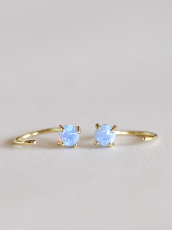 Opalescent Gemstone Huggie- 18k Gold Over Silver - JK52