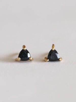 Black Tourmaline Mini Energy Gem Posts - 18k Gold Over Silver - JK49