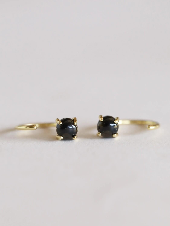 Obsidian Gemstone Huggie- 18k Gold Over Silver - JK47