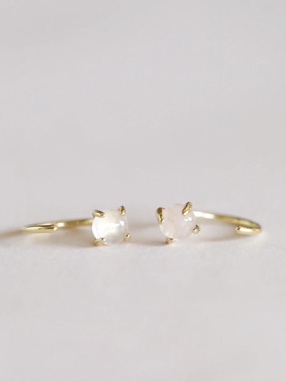 Rose Quartz Gemstone Huggie- 18k Gold Over Silver - JK59