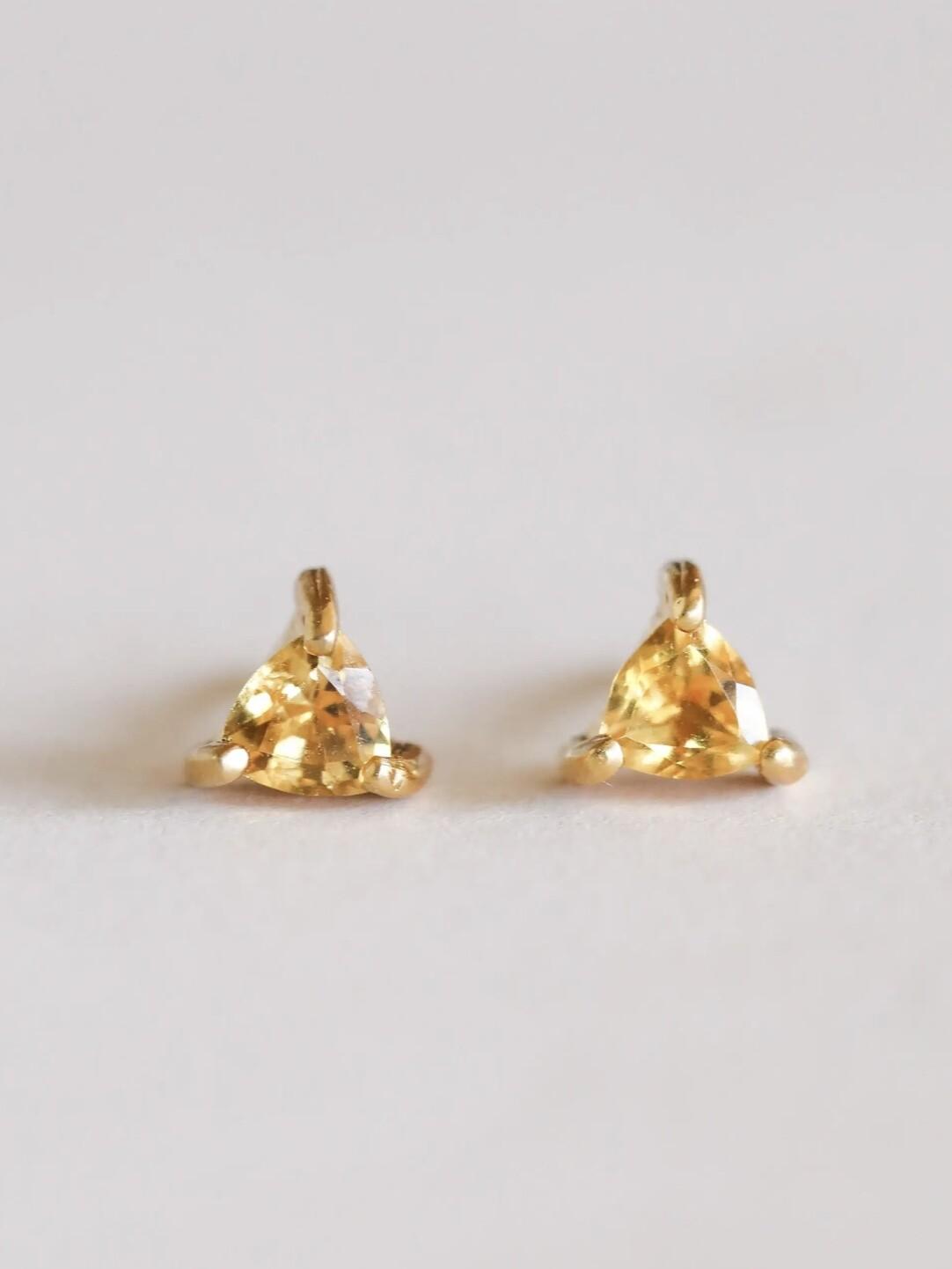 Citrine Mini Energy Gem Posts - 18k Gold Over Silver - JK57