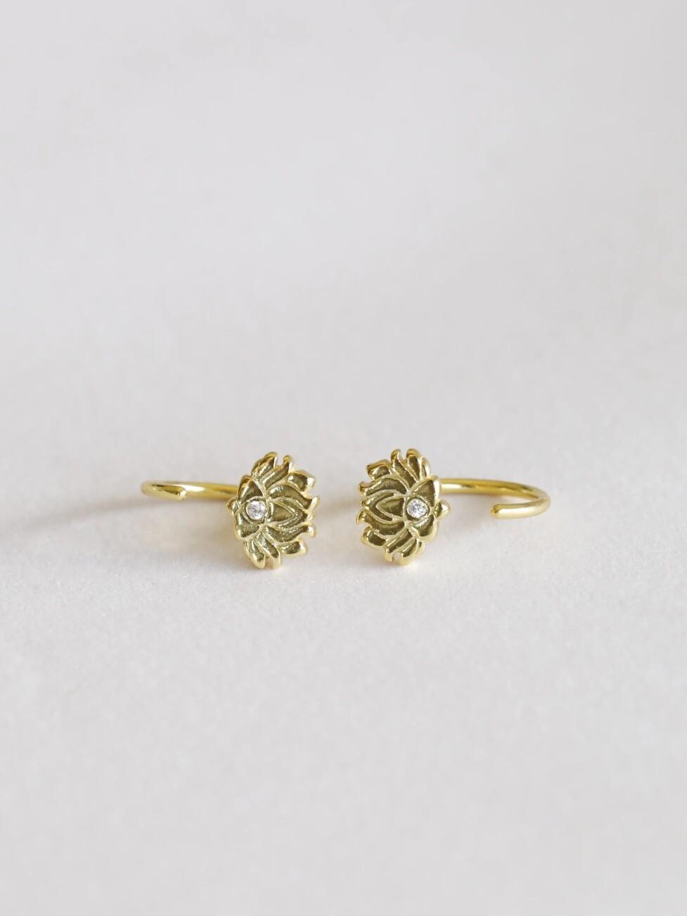 18Kt Gold Vermeil Lotus Hugger Hoop Earrings - JK61