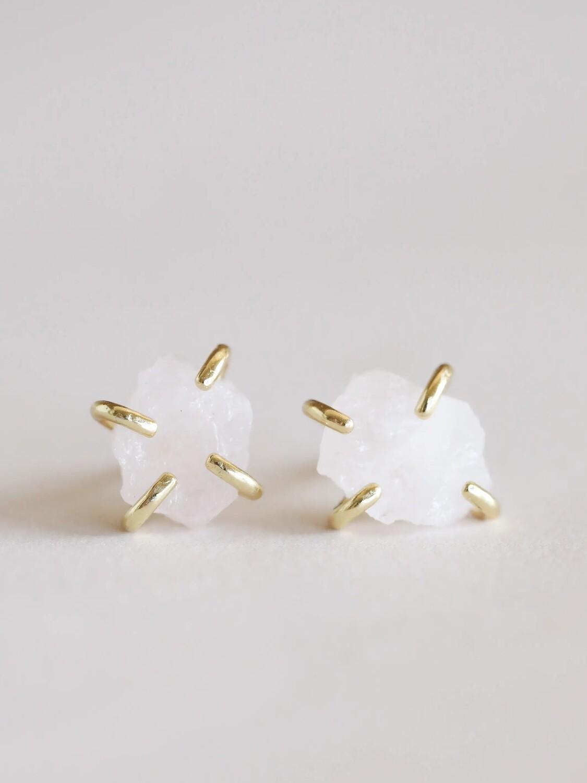 Rose Quartz Gemstone Prong Posts - 18k Gold Over Silver - JK44