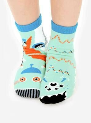 Pals Socks - Robot & Alien   Kids Socks   Collectible Mismatched Socks