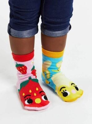 Pals Socks - Strawberry & Banana   Kids Socks   Mismatched Fun Socks