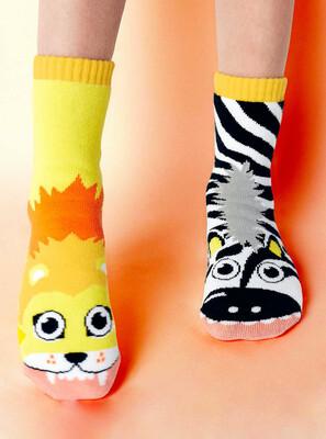 Pals Socks - Lion & Zebra   Kids Socks   Collectible Mismatched Socks