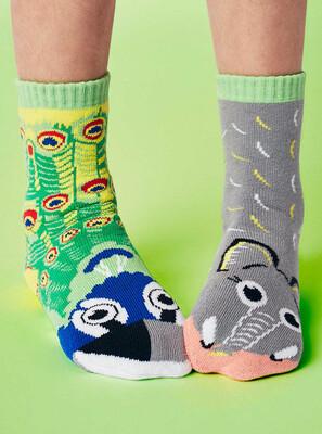 Pals Socks - Peacock & Elephant   Kids Socks   Mismatched Fun Socks