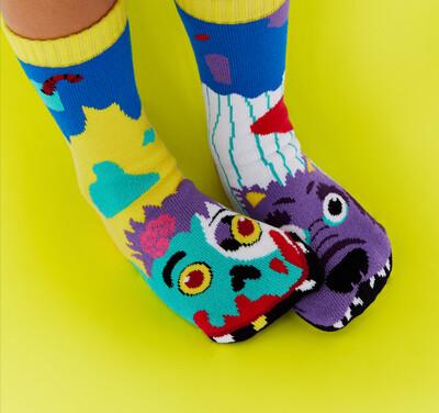 Pals Socks - Zombie & Werewolf   Kids Socks   Mismatched Fun Socks