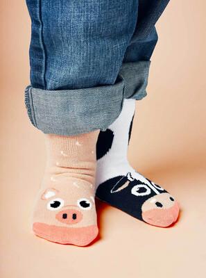 Pals Socks - Cow & Pig   Kids Socks   Mismatched Crazy Fun Socks