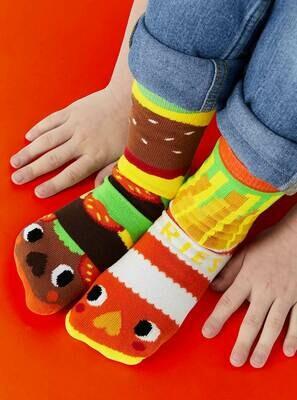 Pals Socks - Burger & Fries   Kids Socks   Collectible Mismatched Sock