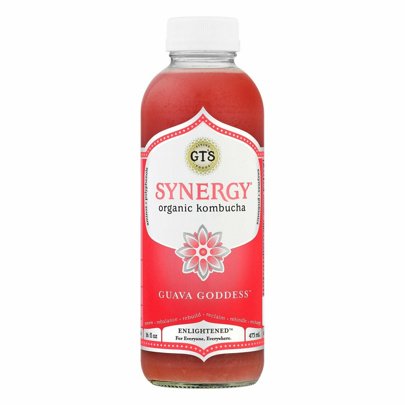 GT's Synergy Kombucha 16oz Guava Goddess
