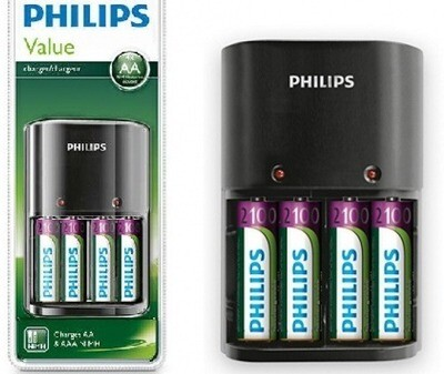 Cargador con pilas incluidas x4 Philips AA/AAA