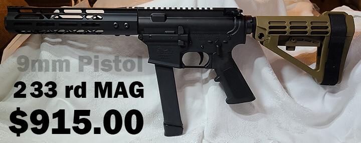"""AM9 Pistol w/7.5"""" barrel SBA3 brace 9mm"""