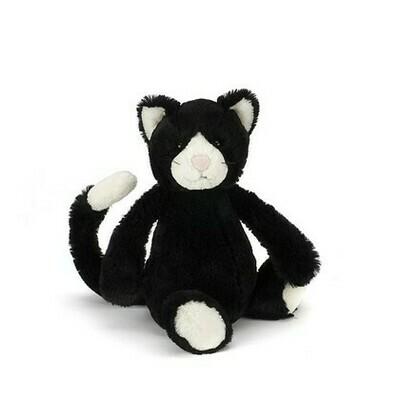Jellycat Bashful Black & White Kitten Med