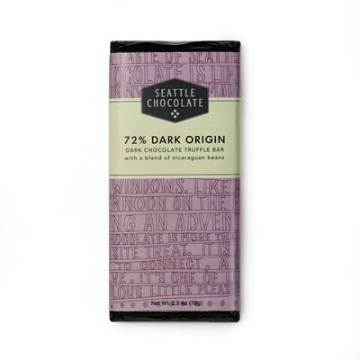 72% Dark Origin Seattle Chocolate Bar