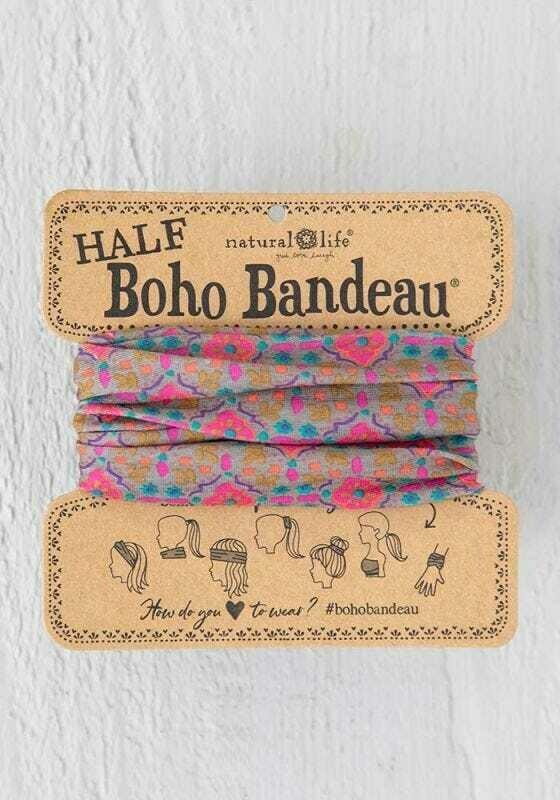 236 Grey Pink Stamp Half Boho Bandeau