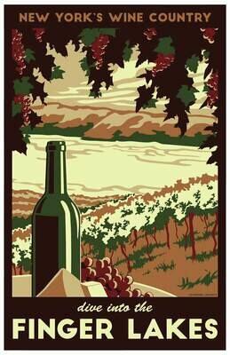 "Finger Lakes Vintage Travel Poster - 11x17"""