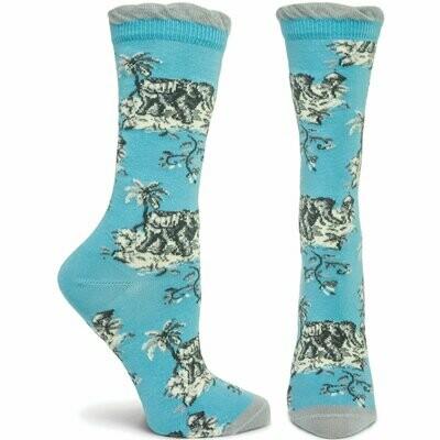 Jungle De Jouy - Blue - Ozone Socks