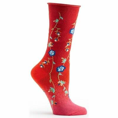 Tibetan Flowers Red Ozone Socks