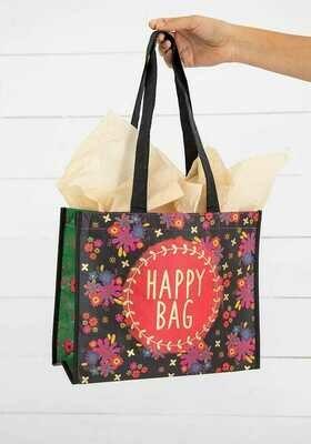 NL 125 Red Circle Happy Bag Lrg Recycled Gift Bag
