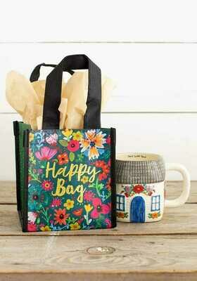 NL 119 Teal Gold Floral Sm Recycled Gift Bag