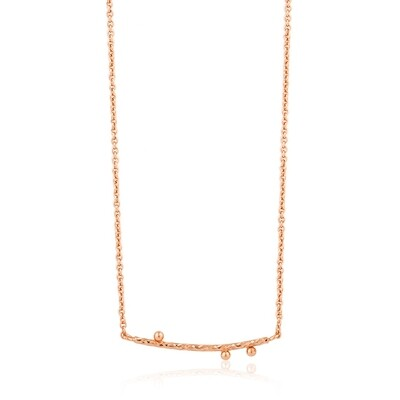 Ania Haie Twist Solid Bar Necklace - Rose Gold