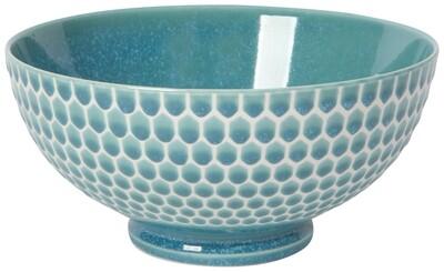 Embossed Honeycomb Teal 8in Serving Bowl