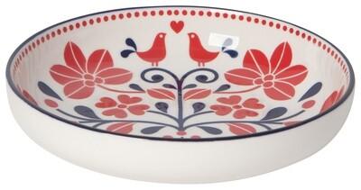Red Navy Bird Shallow Bowl
