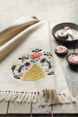 Embroidered Frida Tea Towel