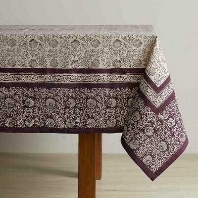 Serrv Aubergine Wildflower Tablecloth - 32053
