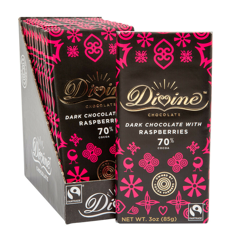 Divine 70% Dark Chocolate with Raspberries - 3oz