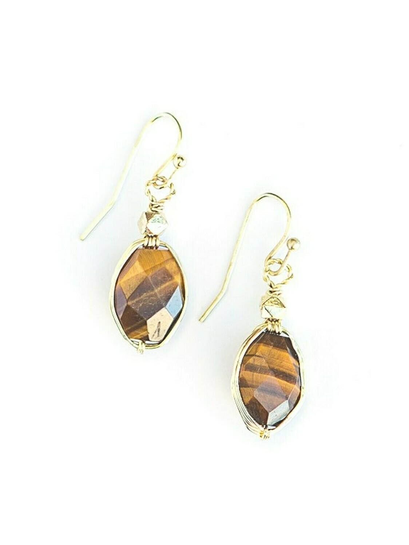 SALE: FA Tiger Eye Earrings - 1345 org. $20.00