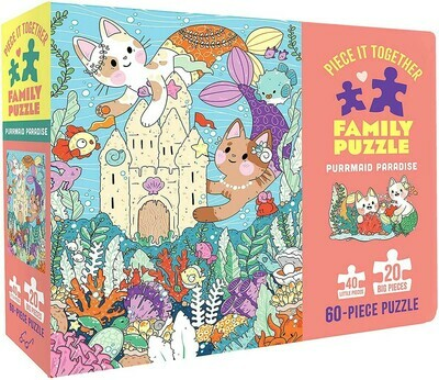 Purrmaid Paradise Family Puzzle  60 pc